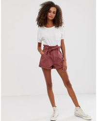 Abercrombie & Fitch Denim Shorts With Paperbag Waist - Orange