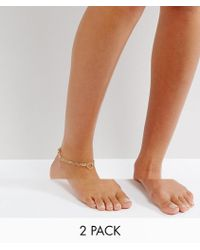 Pieces - Layered Multipack Anklet - Lyst
