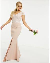Lipsy Светло-розовое Платье Макси С Кружевом -розовый Цвет - Многоцветный