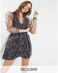 Reclaimed (vintage) Inspired Long-sleeved Frill Mini Dress - Multicolour