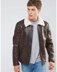 Wrangler Faux Leather Aviator Jacket - Brown