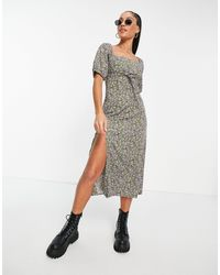 Motel Midi Tea Dress With Ruched Bust And Thigh Split - Green