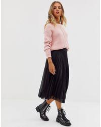 ASOS Pleated Midi Skirt - Black