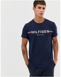 Tommy Hilfiger Icon Stripe Chest Logo T-shirt - Blue