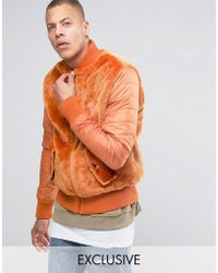 The New County Teddy Bomber Jacket With Nylon Rouched Sleeves - Orange