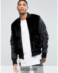 The New County Teddy Bomber Jacket With Nylon Rouched Sleeves - Black
