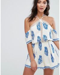 Girls On Film - Paisley Print Cold Shoulder Playsuit - Lyst
