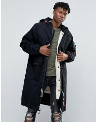 The New County - Longline Parka With Borg Lining - Lyst