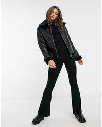 New Look Reversible Leather Look Faux Fur Aviator - Black