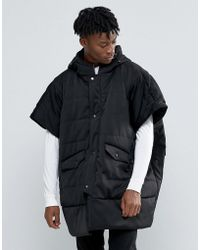 The New County Padded Poncho - Black