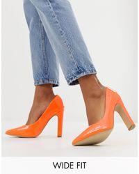 New Look Pointed Toe Block Heel Shoes - Orange