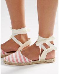 Daisy Street - Stripe Ankle Tie Espadrilles - Lyst