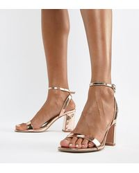 ASOS Hong Kong Barely There Block Heeled Sandals In Rose Gold - Multicolour