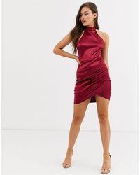 AX Paris Атласное Платье Мини Сливового Цвета С Американской Проймой -фиолетовый - Красный