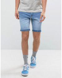 ASOS - Denim Shorts In Skinny Light Blue With Dipped Released Hem - Lyst