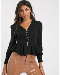 Missguided Blouse With Hook And Eye And Peplum - Black