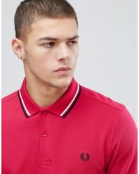 Fred Perry - Twin Tipped Polo Shirt In Red - Lyst