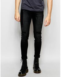 Cheap Monday Jeans Him Spray Stretch Super Skinny Fit Lost Black Ripped And Panel Wash