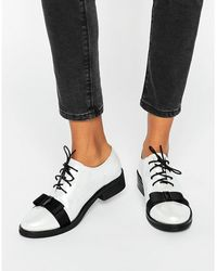 Daisy Street - Bow Pearl White Lace Up Flat Shoes - Lyst