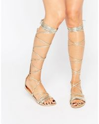 Daisy Street - Lace Up Gladiator Flat Sandals - Lyst