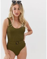 Y.A.S Textured Belted Highleg Swimsuit - Green