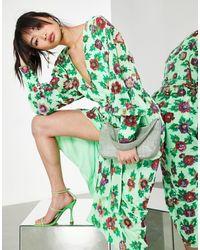 ASOS Платье Миди С Запахом, Цветочным Принтом И Отделкой Пайетками -зеленый Цвет