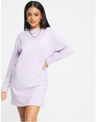 Missguided Vestito T-shirt basic a maniche lunghe lilla - Viola