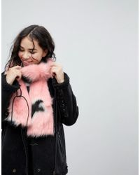 Skinnydip London - Pink Faux Fur Oversized Star Scarf - Lyst