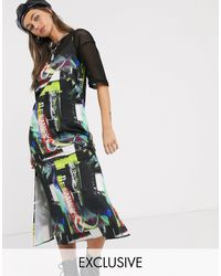 Collusion Vestito midi con spalline sottili, stampa collage e zip laterale - Multicolore