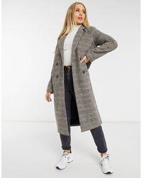Monki Коричневое Двубортное Шерстяное Пальто В Клетку -коричневый