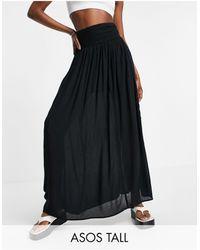 ASOS ASOS DESIGN Tall - Jupe longue froissée avec empiècement froncé - Noir