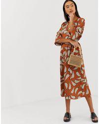 B.Young Vestito midi con stampa di foglie - Multicolore
