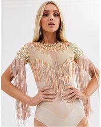 A Star Is Born Embellished Fringe Bodysuit-pink
