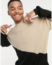 Mennace Diagonal Splice Crew Neck Knitted Sweater - Multicolor
