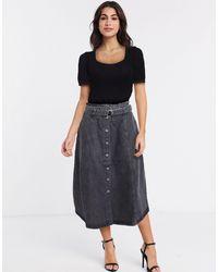 Gestuz Denim Belted Midi Skirt - Black