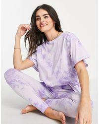 ASOS Tie Dye Tee & legging Pyjama Set - Purple