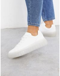 Bershka Sneakers bianche con suola trasparente - Bianco