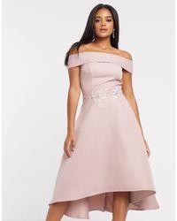 Chi Chi London Bardot Dip Hem Dress - Pink