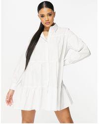 Threadbare Tiered Shirt Dress - White