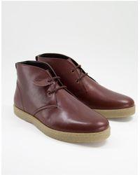 Farah Leather Chukka Boots - Brown