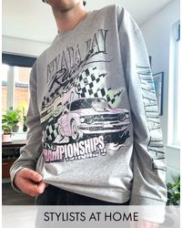 Reclaimed (vintage) Inspired Long Sleeve T-shirt With Nevada Print - Multicolor