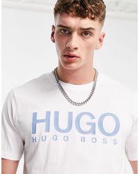 HUGO Белая Футболка С Крупным Логотипом Dolive-белый