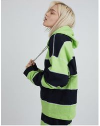 The Ragged Priest Oversized Hoodie With Chain Drawstring And Overlocking - Green
