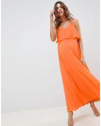 ASOS - Asos Design Maternity Pleated Crop Top Maxi Dress - Lyst