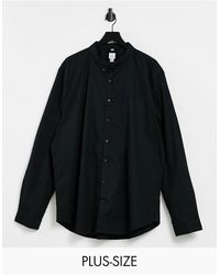 River Island Big & Tall Slim Oxford Shirt - Black