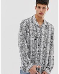 Brave Soul - Snake Animal Print Long Sleeve Shirt - Lyst