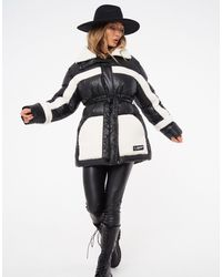 The Couture Club Contrast Shearling Padded Jacket With Belt - Black