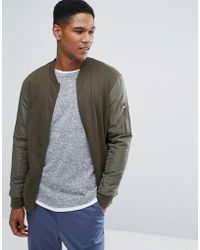 Threadbare - Contrast Sleeve Bomber Sweat - Lyst
