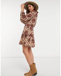 Object Mini Dress With Frill Shoulder And Tie Neck - Multicolour