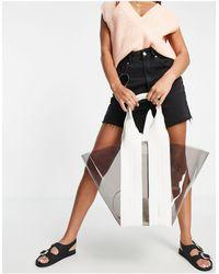 Rebecca Minkoff Maxi borsa con manico a righe, colore grigio